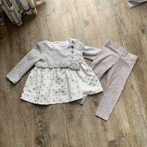 Tahari Baby Girls Silver and White Set